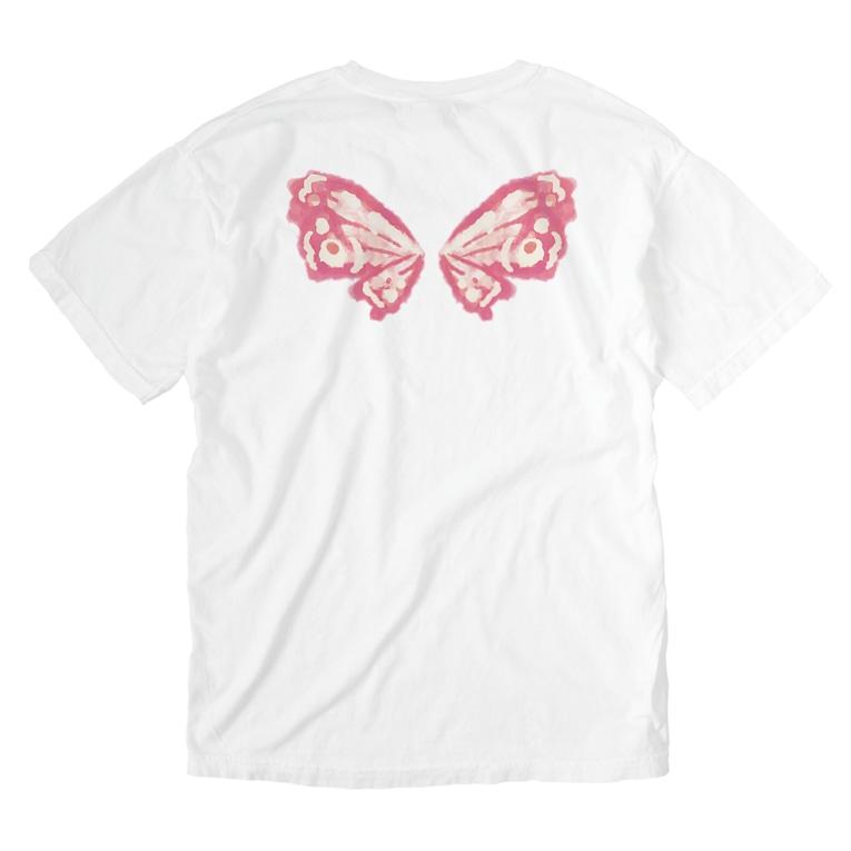 せきね まりのの蝶々の羽(ピンク) Washed T-shirts