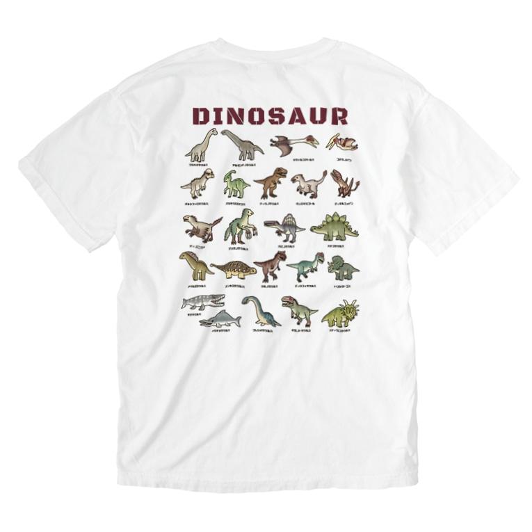 すとろべりーガムFactoryのバックプリント ちょっとゆるい恐竜図鑑 Washed T-shirts