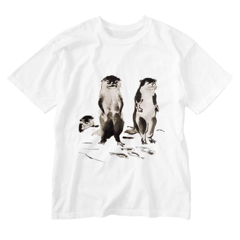 ヤマネコ。の部屋のカワウソの一味 Washed T-shirts
