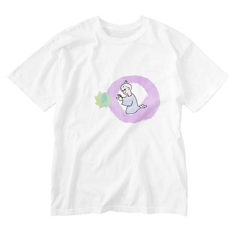 犬吠え商店のゑまる童子 Washed T-shirts