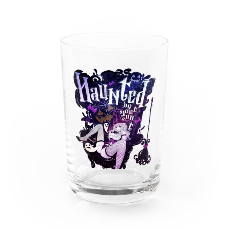 loveclonesのHAUNTED ハロウィンお化けと魔女の黒椅子 Water Glass
