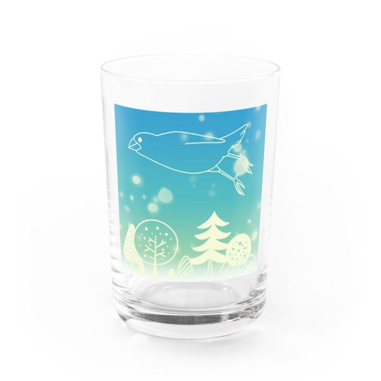 ・buncho days・ 文鳥デイズの北欧の空を飛ぶ文鳥 Water Glass