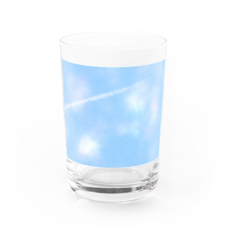 ぎゃらりー☆紫桜の空と飛行機雲 Water Glass
