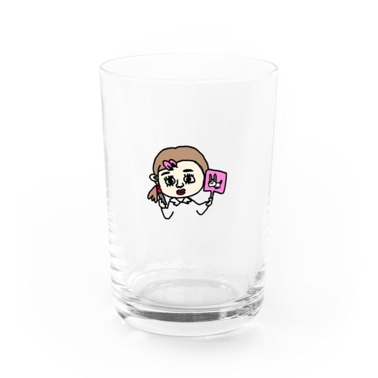 ニコニコ❤︎お肉のメイク中の女の子 Water Glass