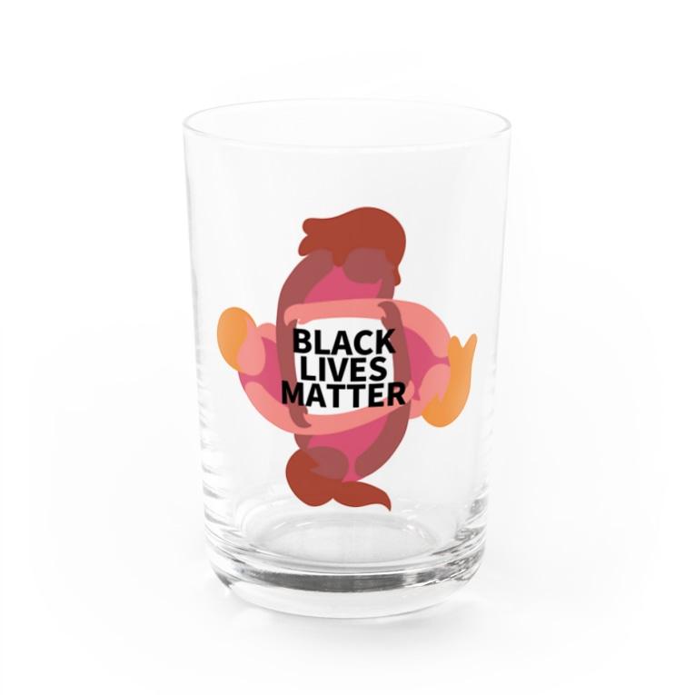 RIRI_designのBLACK LIVES MATTER(ブラック・ライブス・マター)サークル Water Glass