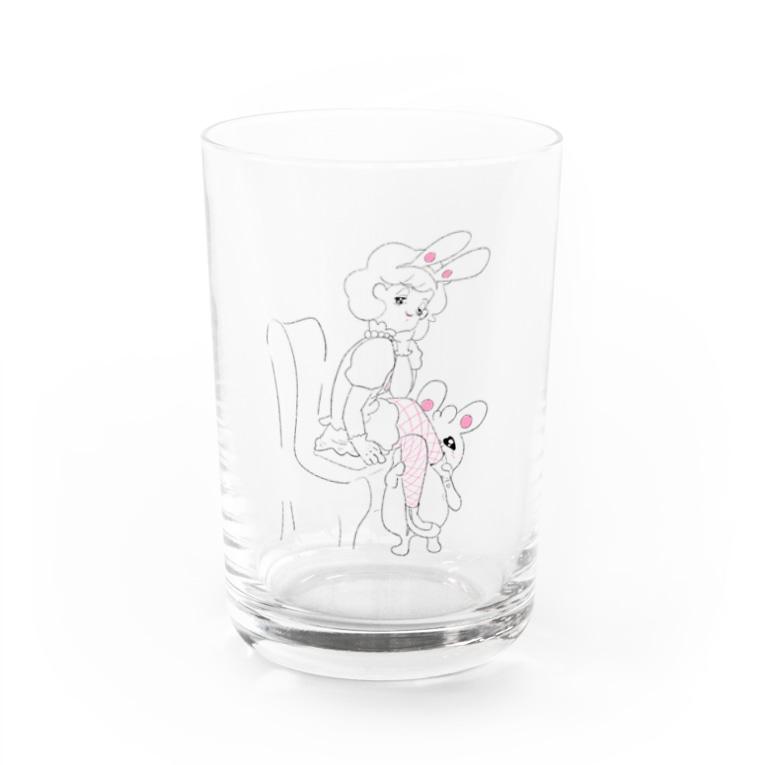 シソイロハのウサギとバニーちゃん Water Glass