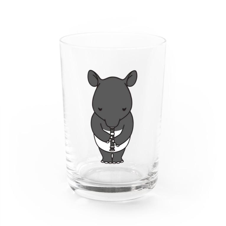 のんびりイラスト商店のリコーダーバク Water Glass