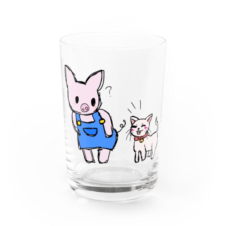 ayasa0827のブタのぶーたとネコのあずき Water Glass