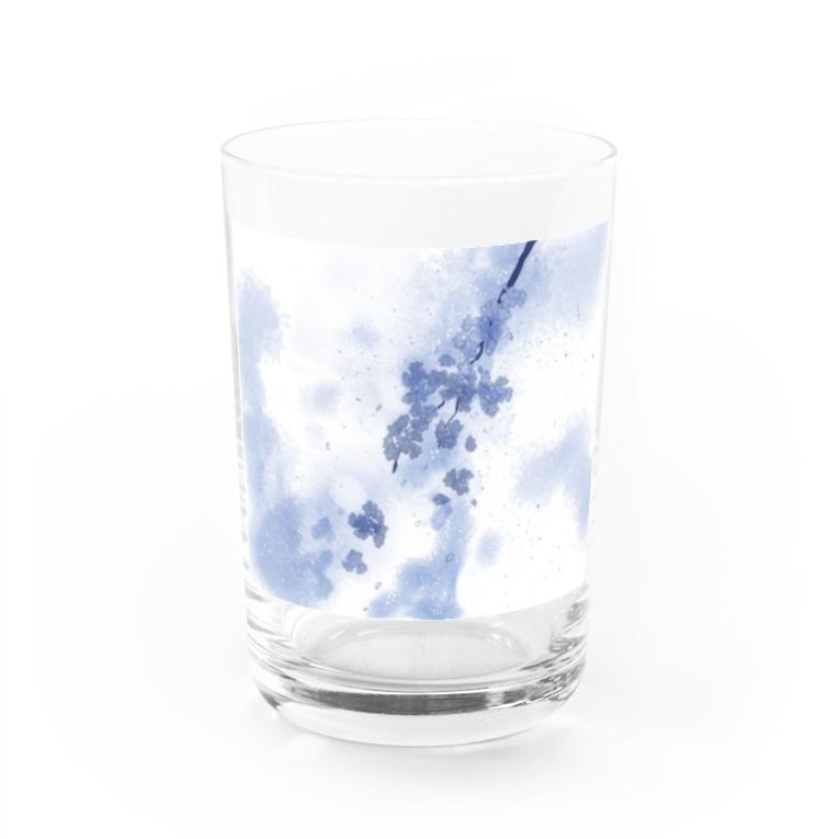 桜居春斗の彼岸の青鈍(桜) Water Glass