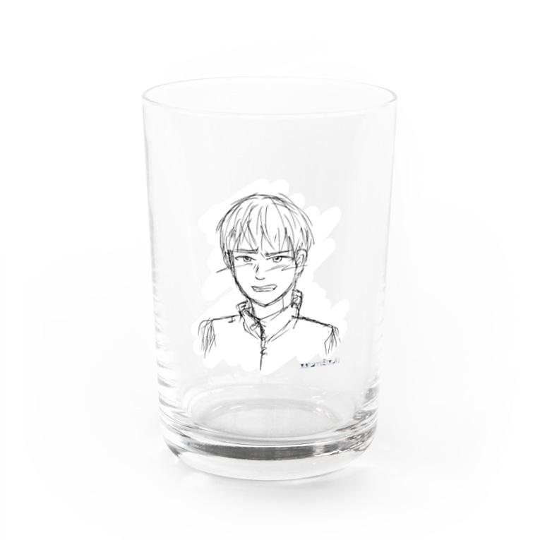 satomimitsukiの照れる少年 スクラッチ風白入り Water Glass
