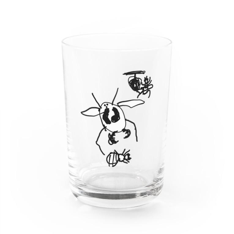 ぽこぽんやさんのオオスズメバチとセイヨウミツバチ Water Glass