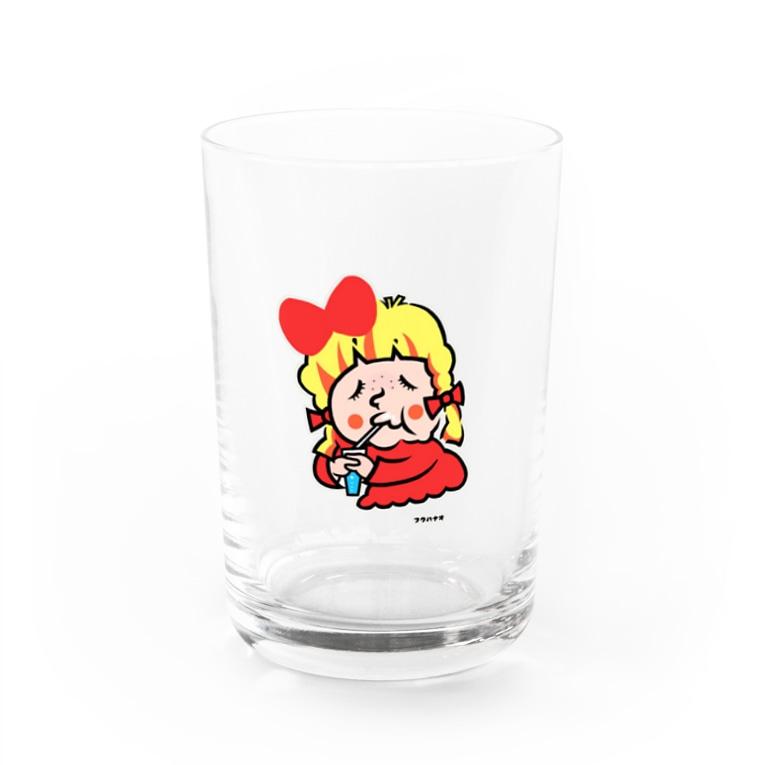 福ハナ夫(フクハナ商店)公式のうぅ〜んお腹いっぱいちゃん Water Glass