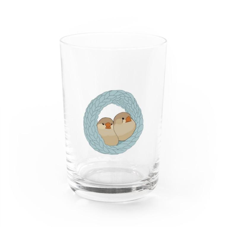 鳥のなる木のキンカは液体 ブルー Water Glass