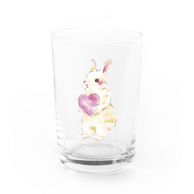 しず華*(カラー・リボンボン)のきゅんきゅんうさぎ Water Glass