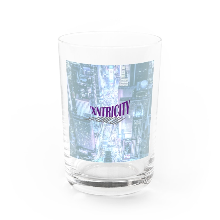 でおきしりぼ子のえきせんとりしてぃ-正方形(文字小さめ) Water Glass