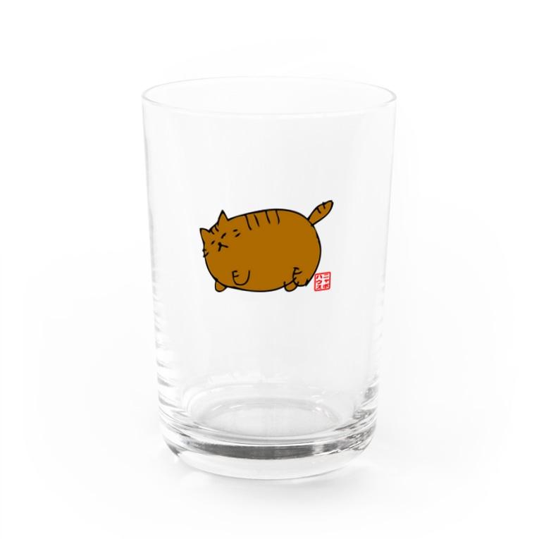 ニャポハウスショップ のデブ猫ニャポポさん(ハンコ) Water Glass