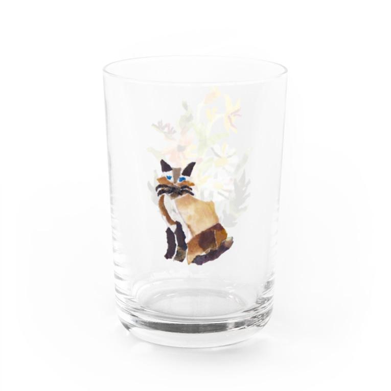のばら(NOBARA)のお花とシャム猫のコップ Water Glass左面