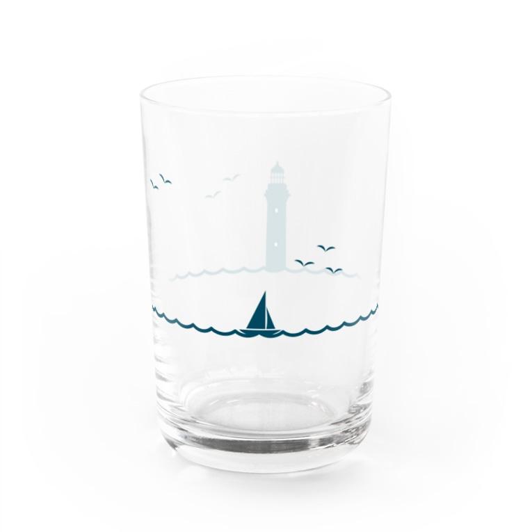 ますだわみのヨットと灯台 Water Glass左面