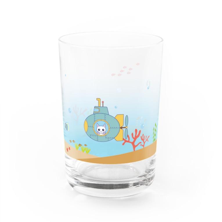 寺猫屋のにゃんこの潜水艦海中散歩 Water Glass右面