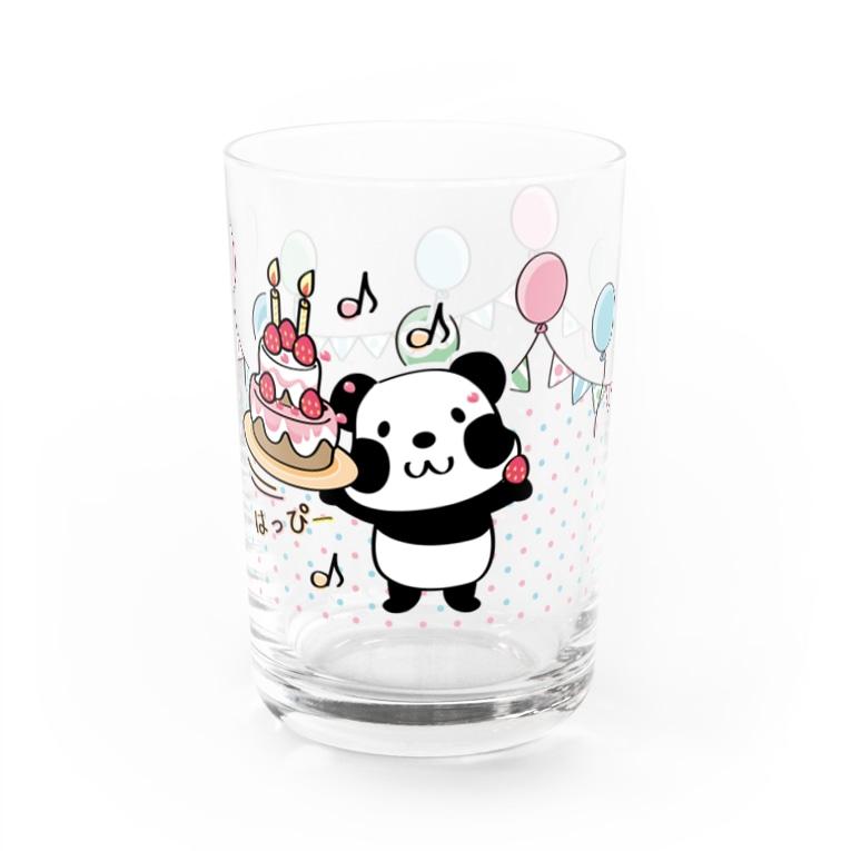 *suzuriDeMonyaa.tag*のズレぱんだちゃんのはっぴーグラス_kyu13 Water Glass右面