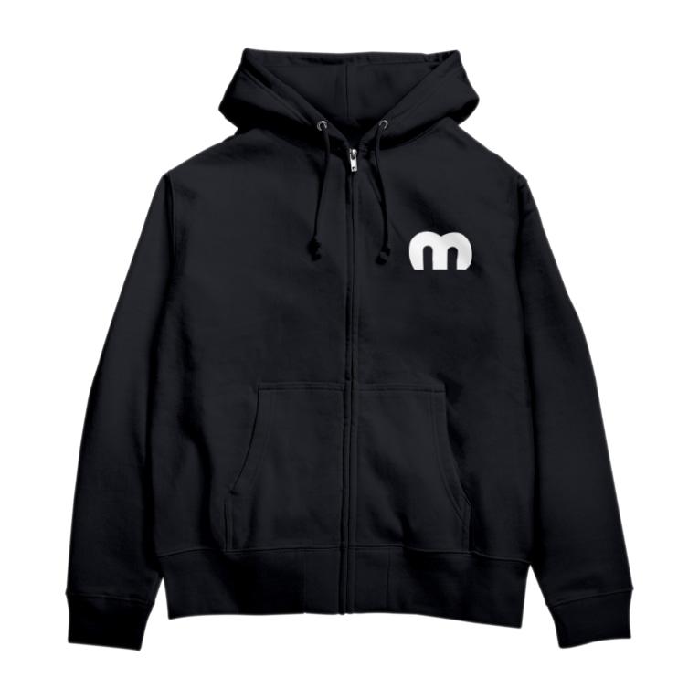 MechuのMechuロゴ(白) Zip Hoodies